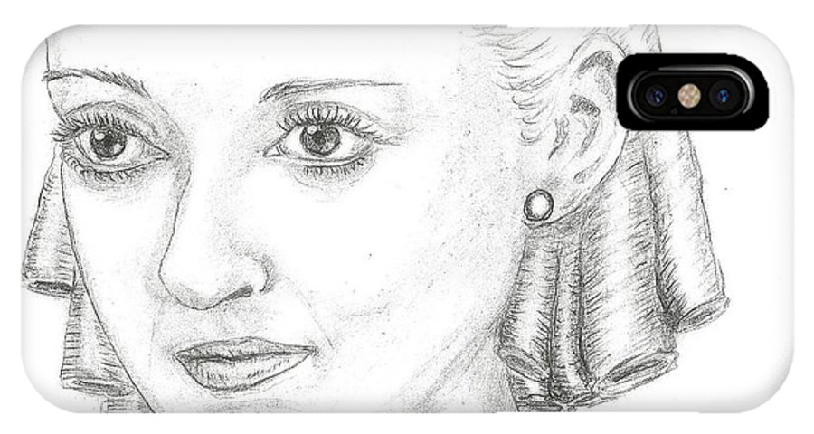 Bette Davis IPhone X Case featuring the drawing Bette Davis by Steven White