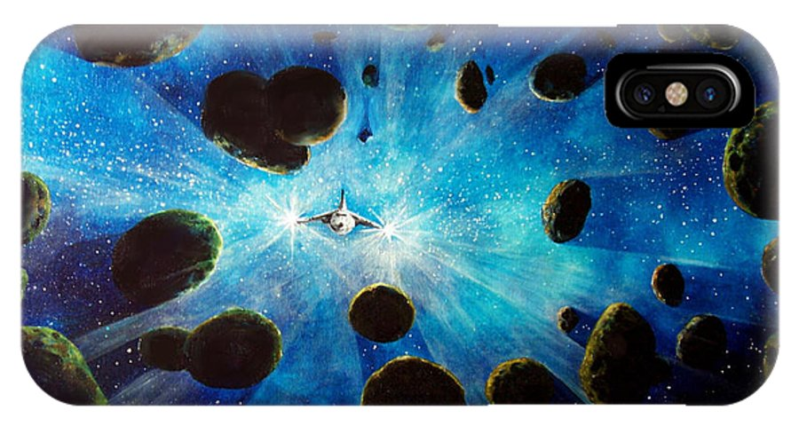 Asteroid Field. Astro IPhone X Case featuring the painting Better Go Around by Murphy Elliott