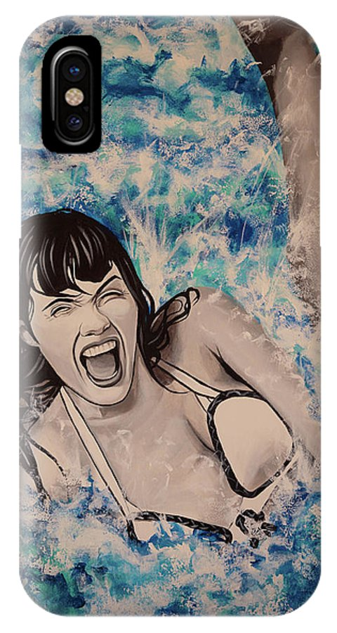 Betty Page IPhone X Case featuring the painting Betty Page by Matt Brown