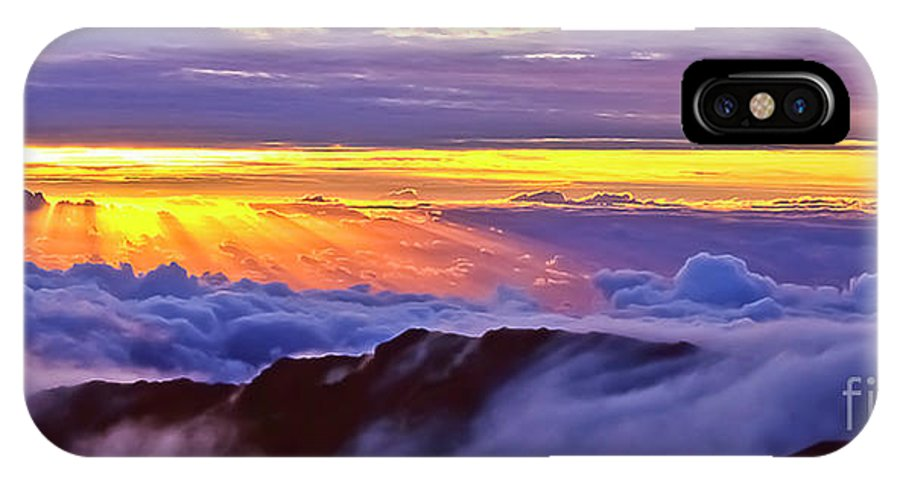 Haleakala IPhone X Case featuring the photograph Maui Hawaii Haleakala National Park Sunrise Between the Clouds by Jim Cazel