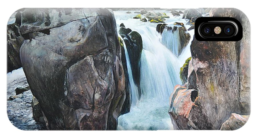 Wales IPhone X Case featuring the painting Betws-y-coed Waterfall In North Wales by Harry Robertson