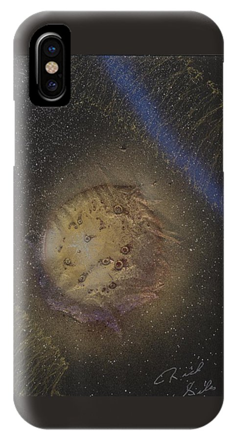 Glass IPhone X Case featuring the painting Beyond by Rick Silas