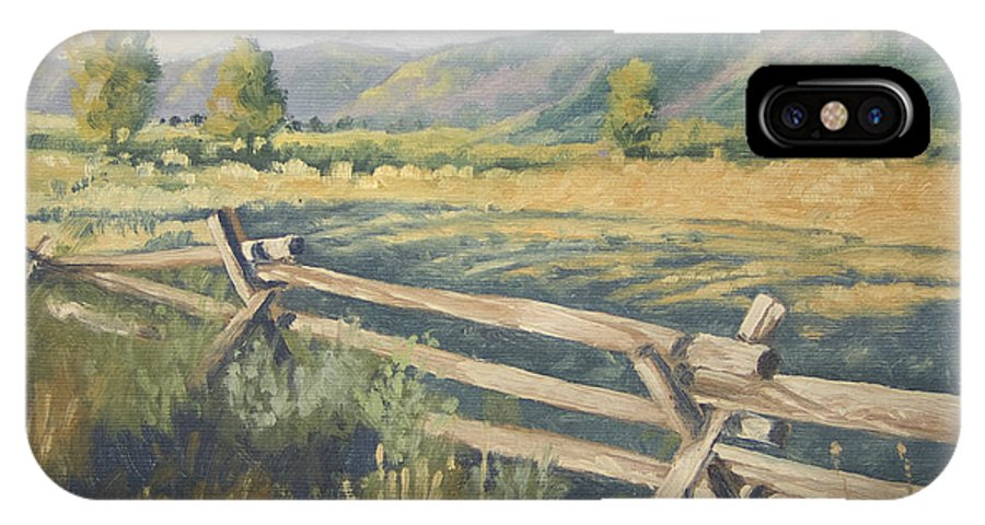 Landscape IPhone X Case featuring the painting Beyond the Fence by Peter Muzyka