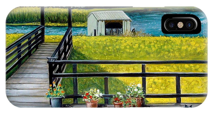 Landscape IPhone X Case featuring the painting Beyond The Levee by Elizabeth Robinette Tyndall