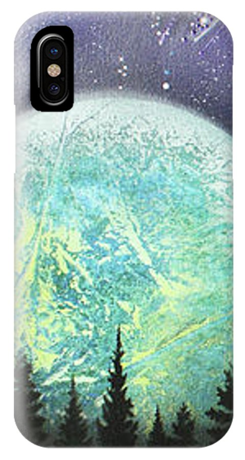 Aerosol IPhone X Case featuring the painting Beyond The Trees by Laura Barbosa