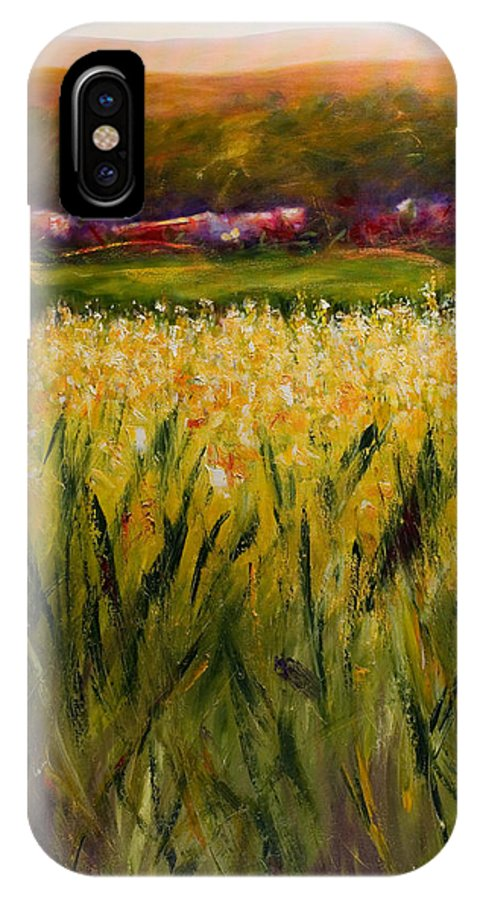 Landscape IPhone X Case featuring the painting Beyond The Valley by Shannon Grissom