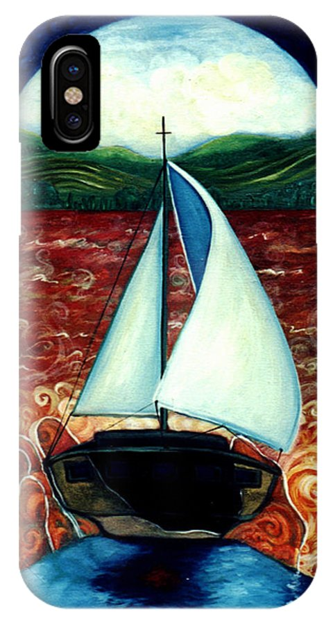 Sailboat IPhone X Case featuring the painting Beyond These Shores by Teresa Carter