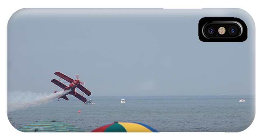 Airplane IPhone X Case featuring the photograph Bi-plane Fly-by by Robert Banach