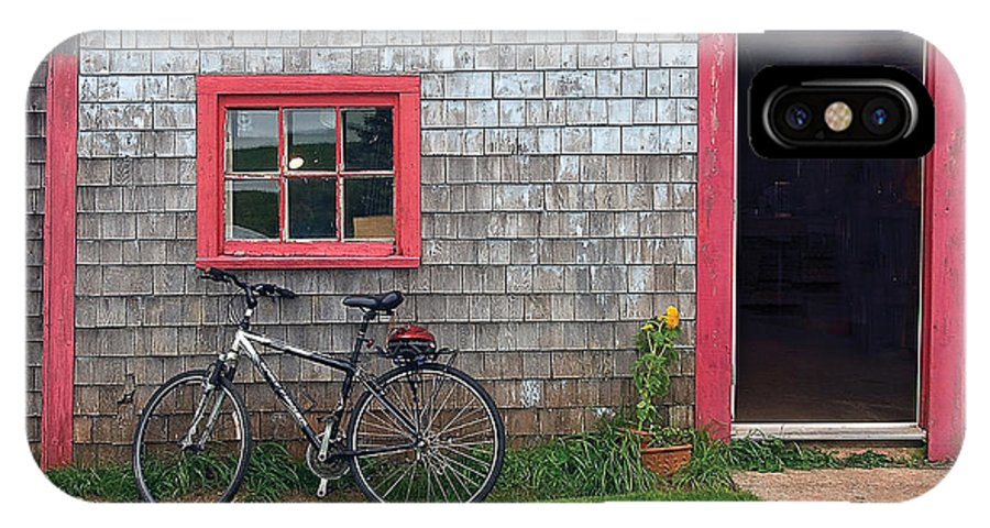 Bicycle IPhone X Case featuring the photograph Bicycle At Barn by Steve Somerville