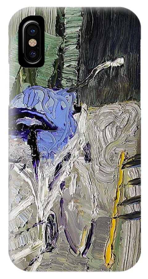 Dead Wood IPhone X / XS Case featuring the painting Bicycle In The Cellar by Reiner Poser