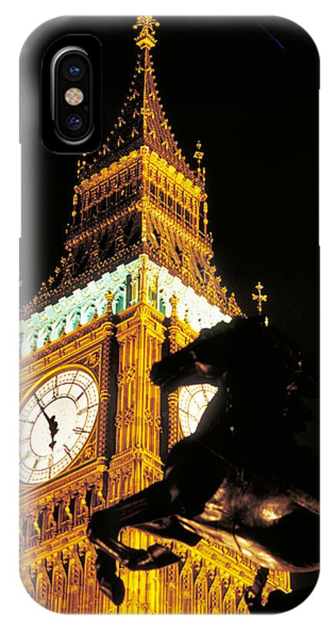 Clock IPhone X Case featuring the photograph Big Ben In London by Carl Purcell