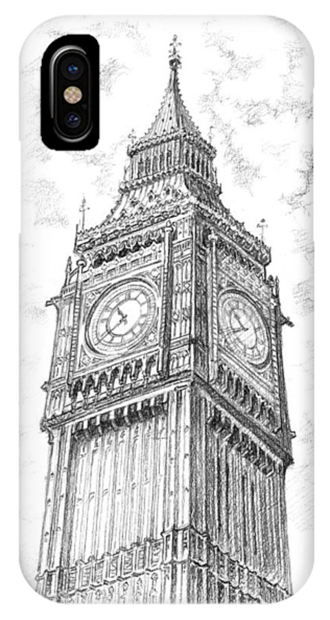 London IPhone X Case featuring the drawing Big Ben London by Vlado Ondo