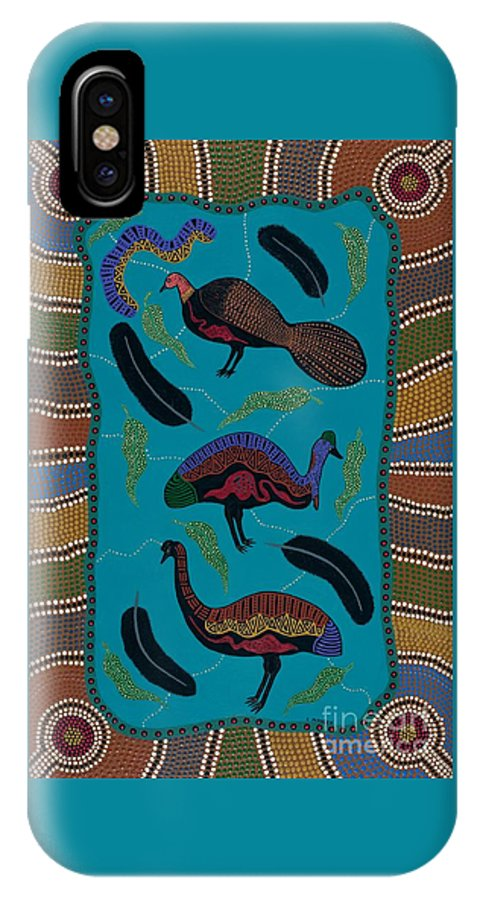 Acrylic IPhone X Case featuring the painting Big Birds Of Australia by Clifford Madsen