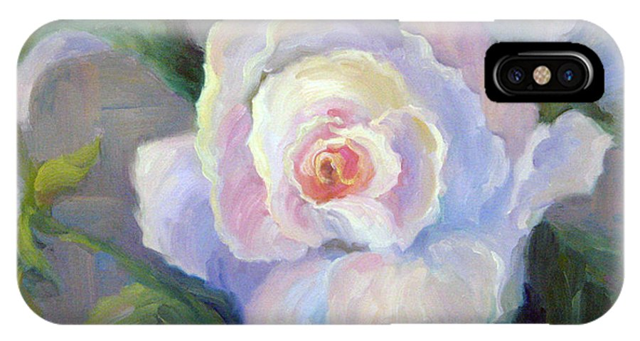 Flower IPhone X Case featuring the painting Big Blushing Rose by Bunny Oliver