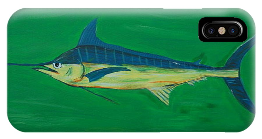 Blue Marlin IPhone Case featuring the painting Big Fish by Angela Miles Varnado