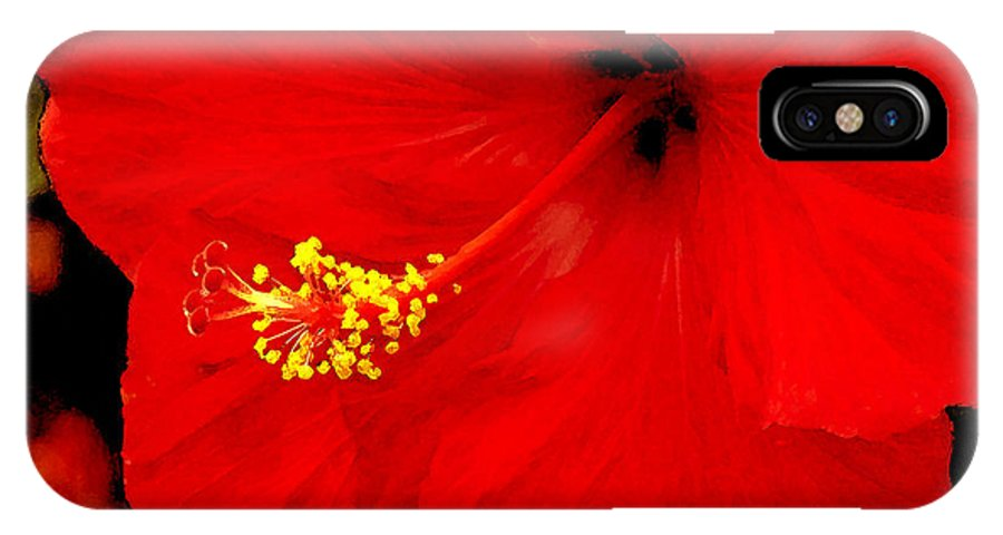 Caribbean IPhone Case featuring the photograph Big Red Caribbean Hibiscus by Leonard Rosenfield
