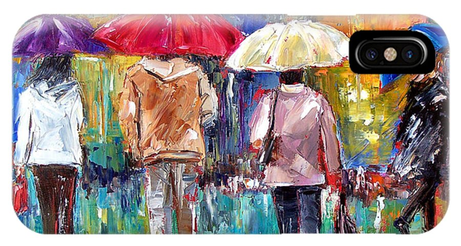 Rain IPhone X Case featuring the painting Big Red Umbrella by Debra Hurd