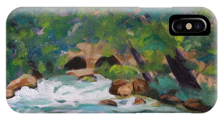Impressionistic IPhone X Case featuring the painting Big Spring On The Current River by Jan Bennicoff