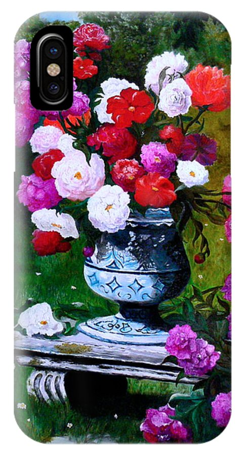 Stilllife IPhone X / XS Case featuring the painting Big Vase With Peonies by Helmut Rottler