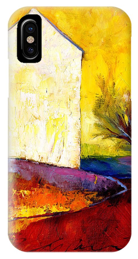 House IPhone X Case featuring the painting Big White House by Peggy Wilson