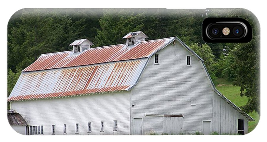 White IPhone Case featuring the photograph Big White Old Barn With Rusty Roof Washington State by Laurie Kidd