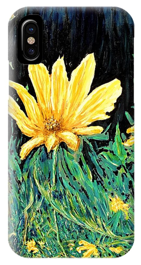 Flower IPhone X Case featuring the painting Big Yellow by Ian MacDonald