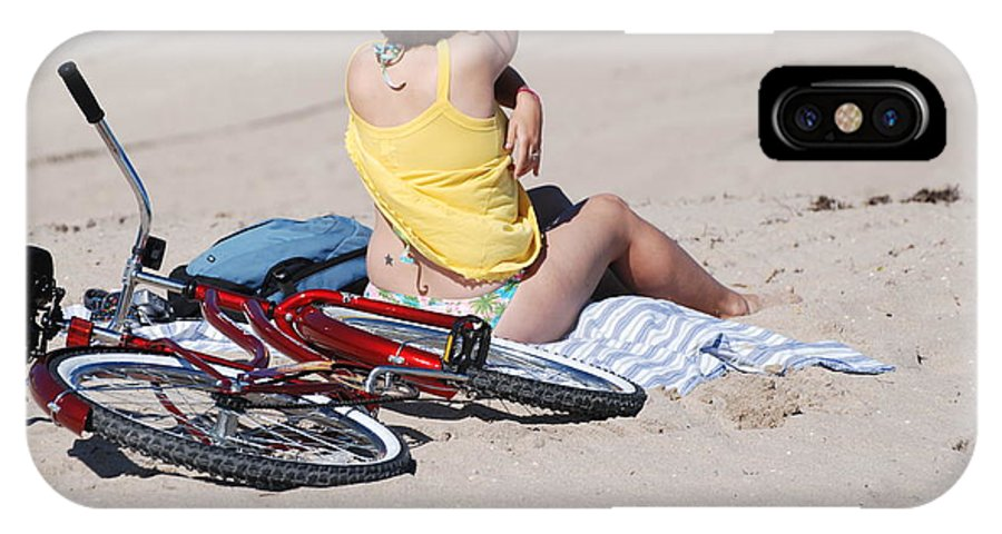 Red IPhone Case featuring the photograph Bike On The Beach by Rob Hans
