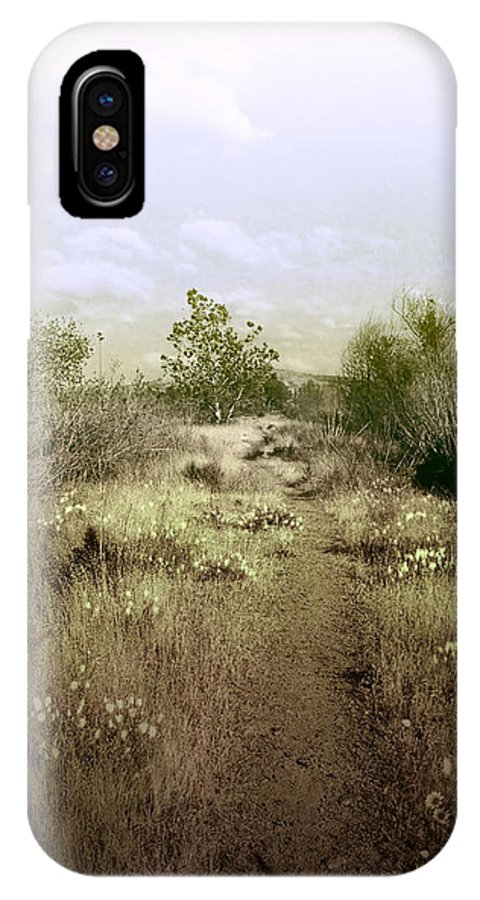 Landscape IPhone X Case featuring the photograph Bike Path Brown by Karen W Meyer