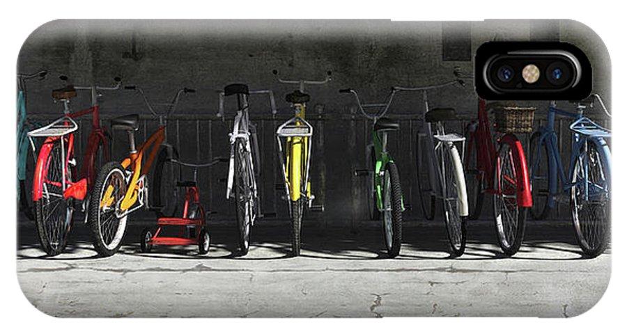 Bicycle IPhone X Case featuring the digital art Bike Rack by Cynthia Decker