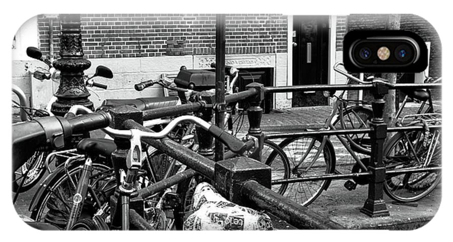 Bikes Hanging Out IPhone X Case featuring the photograph Bikes Hanging Out Mono by John Rizzuto