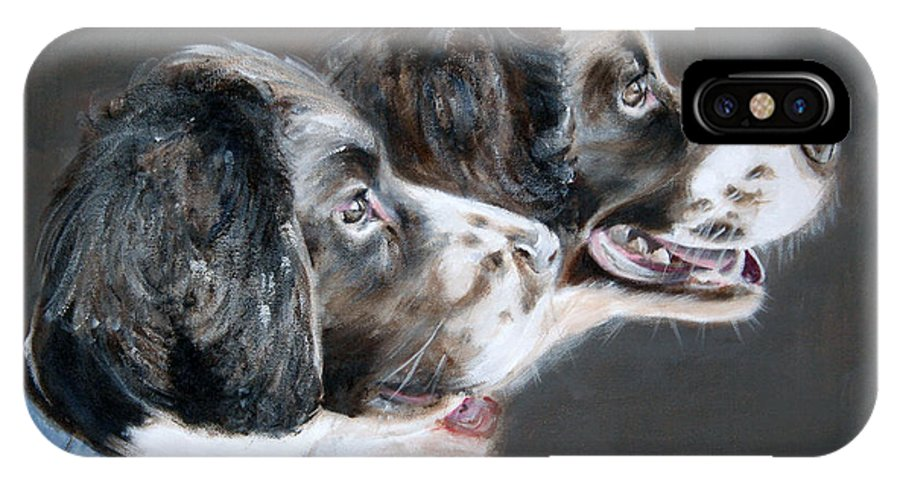 Dogs IPhone X / XS Case featuring the painting Bill And Ollie by Fiona Jack