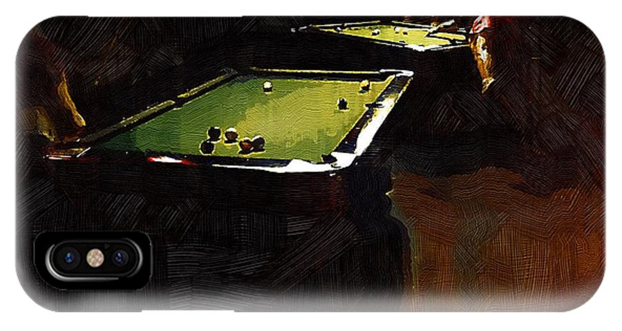 Billiards IPhone X Case featuring the painting Billiards Ballet by RC DeWinter