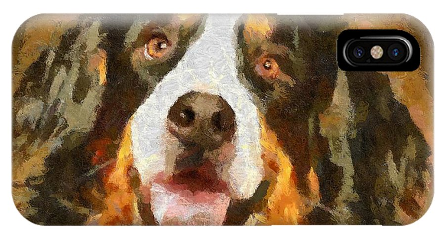 Portraits IPhone X Case featuring the painting Bimbo - Bernese Mountain Dog by Dragica Micki Fortuna