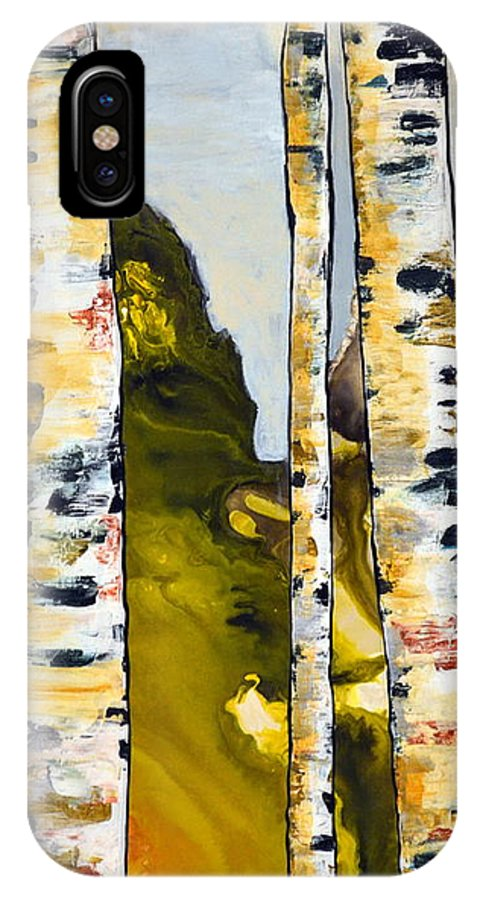 Abstract IPhone X / XS Case featuring the painting Birch 1 by Heather Lovat-Fraser