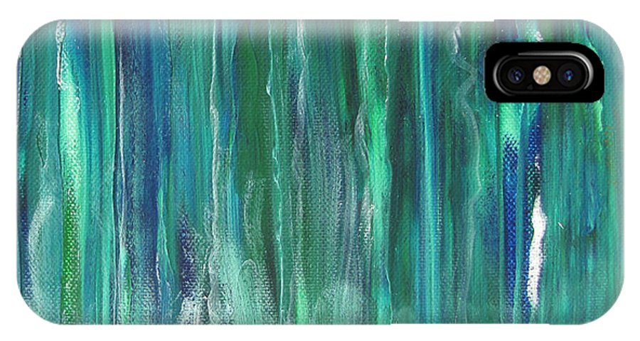Canoe IPhone X Case featuring the painting Birch Canoe At Waterfall by Gary Smith