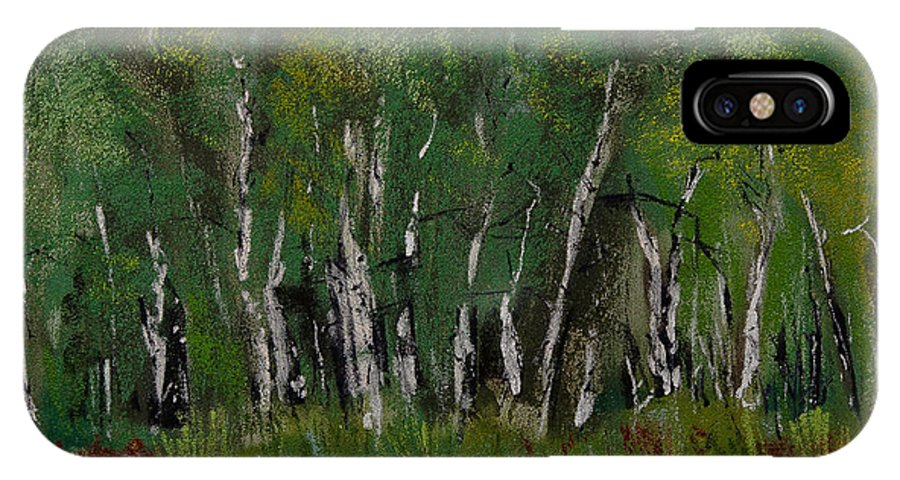 Birch Tree Panorama IPhone X Case featuring the pastel Birch Tree Panorama by David Patterson