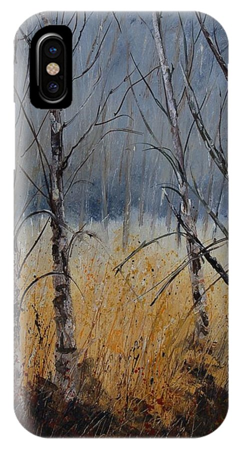 Winter IPhone X Case featuring the painting Birch Trees by Pol Ledent