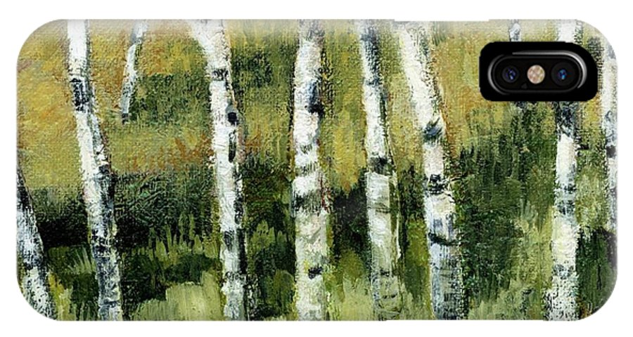Trees IPhone X Case featuring the painting Birches On A Hill by Michelle Calkins
