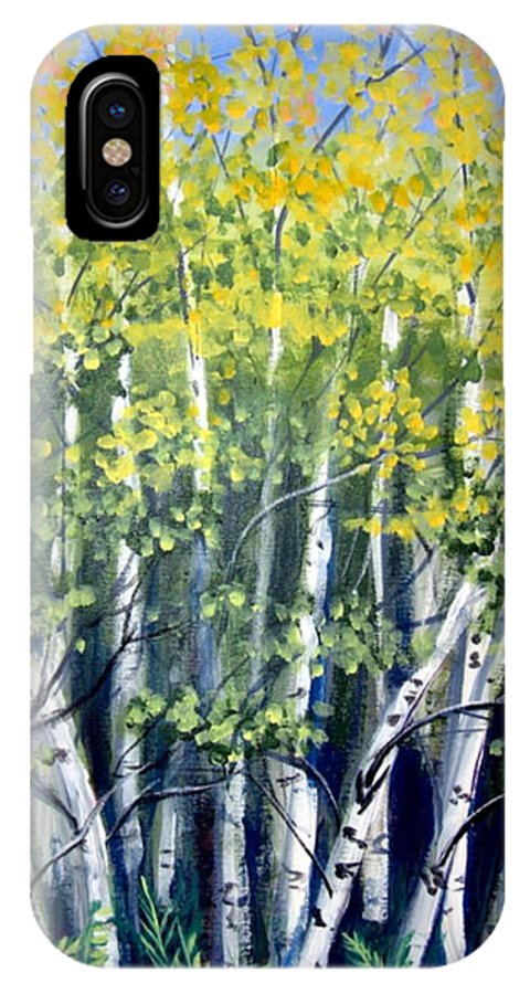 Birches IPhone Case featuring the painting Birches by Sharon Marcella Marston