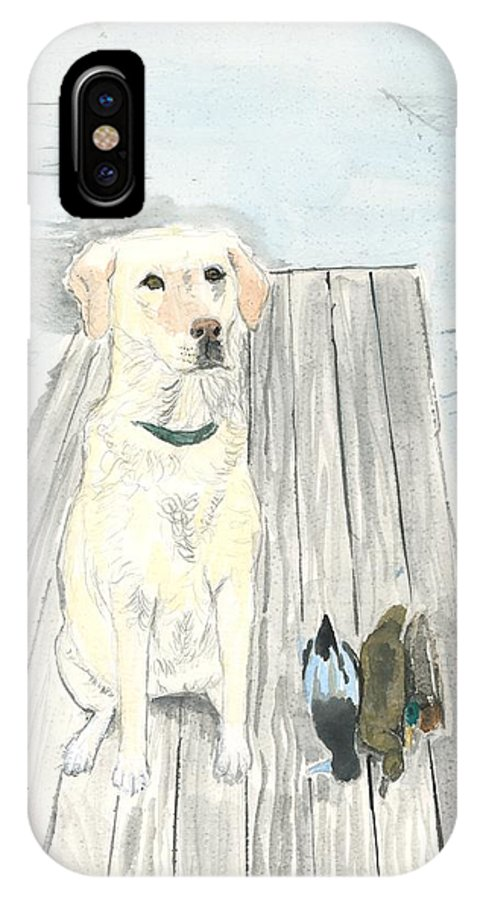 Daisy IPhone X Case featuring the painting Bird Dog by Sara Stevenson