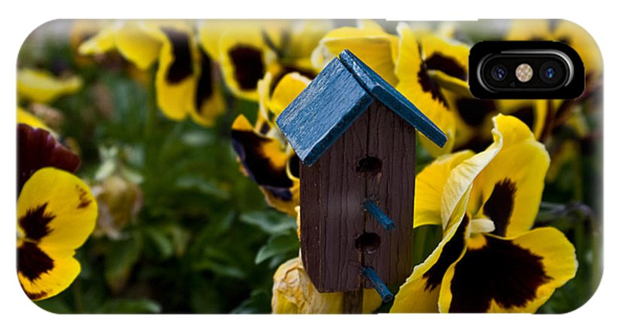 Pansy IPhone Case featuring the photograph Bird House And Pansey by Douglas Barnett