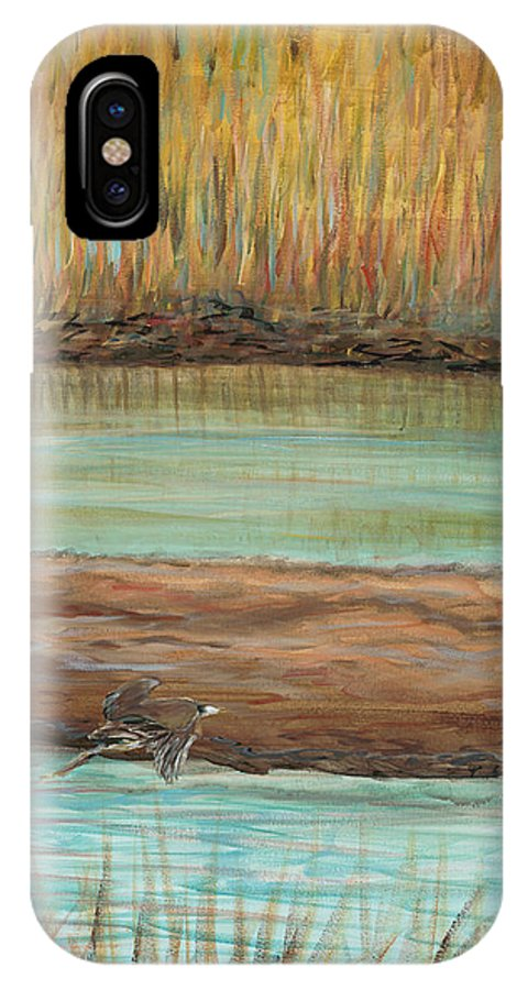 Bird IPhone X Case featuring the painting Bird in Flight by Nadine Rippelmeyer