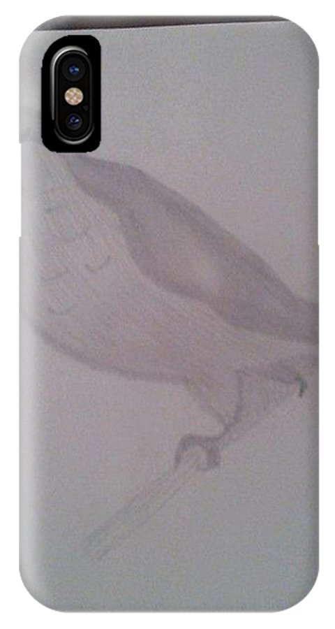 IPhone X Case featuring the drawing Bird by Linda Calloway