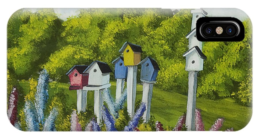 Birdhouses IPhone X / XS Case featuring the painting Bird Metropolis by Charlotte Blanchard