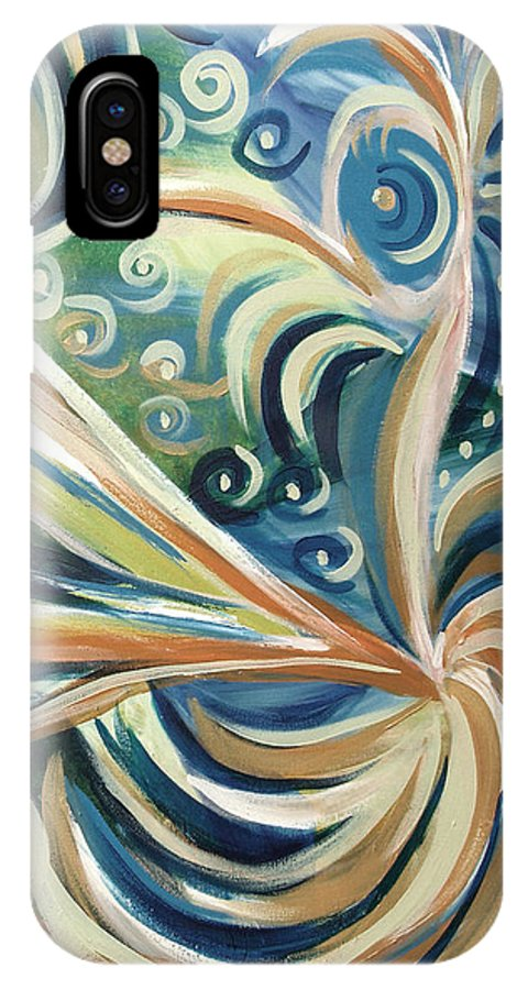 Abstract IPhone X Case featuring the painting Bird Of Paradise 5 by Gina De Gorna
