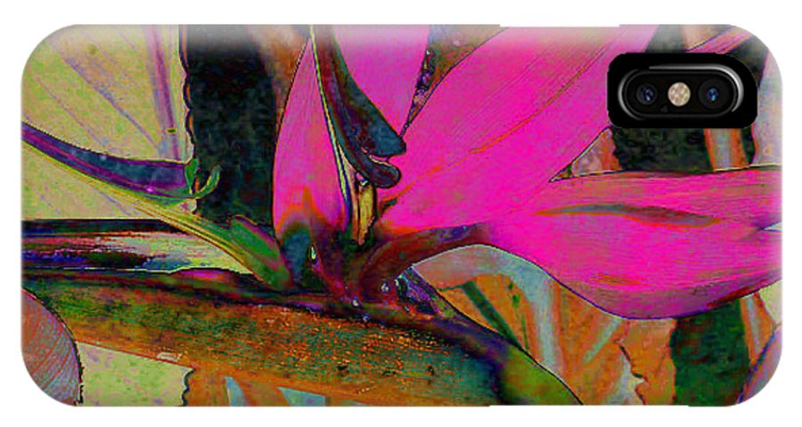 Flower IPhone X Case featuring the digital art Bird Of Paradise by Barbara Berney