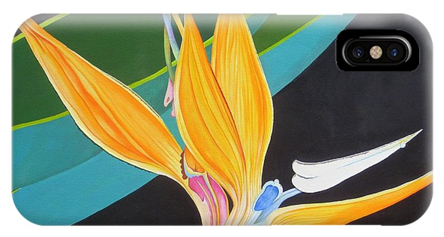 Flower IPhone X Case featuring the painting Bird Of Paradise by Carol Sabo