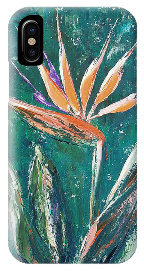 Bird Of Paradise IPhone X Case featuring the painting Bird Of Paradise by Gina De Gorna