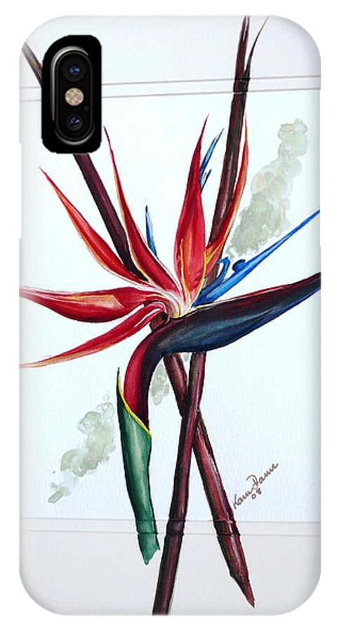Floral Tropical Caribbean Flower IPhone Case featuring the painting Bird Of Paradise Lily by Karin Dawn Kelshall- Best