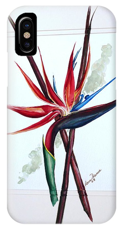 Floral Tropical Caribbean Flower IPhone X Case featuring the painting Bird Of Paradise Lily by Karin Dawn Kelshall- Best
